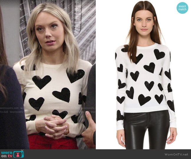 Alice + Olivia Carey Hearts Sweater worn by Abby Newman (Melissa Ordway) on The Young & the Restless