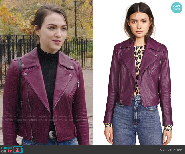 Alice + Olivia Cody Leather Jacket worn by Cara Bloom (Violett Beane) on God Friended Me