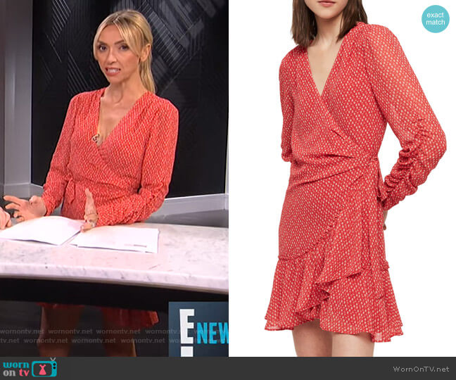 Flores Hearts Ruffle Wrap Dress by All Saints worn by Giuliana Rancic  on E! News