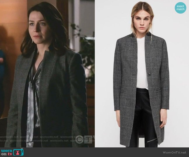 Leni Coat by All Saints worn by Amelia Shepherd (Caterina Scorsone) on Greys Anatomy
