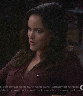 Amy's burgundy button down shirt on Brooklyn Nine-Nine