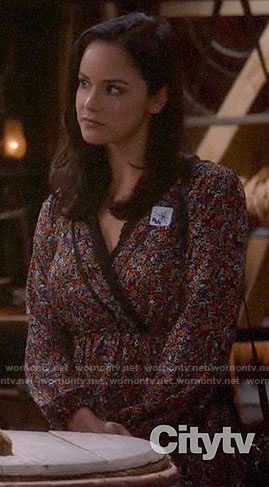 Amy's floral long sleeved dress on Brooklyn Nine-Nine