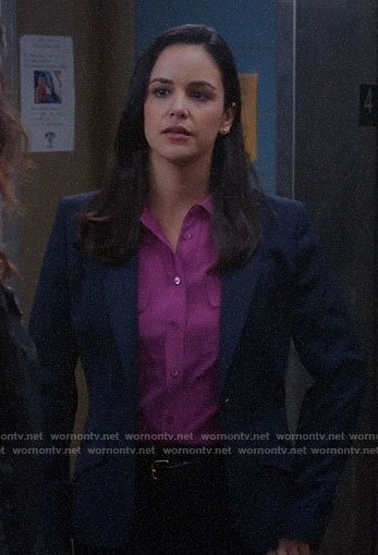 Amy's coral button down blouse on Brooklyn Nine-Nine