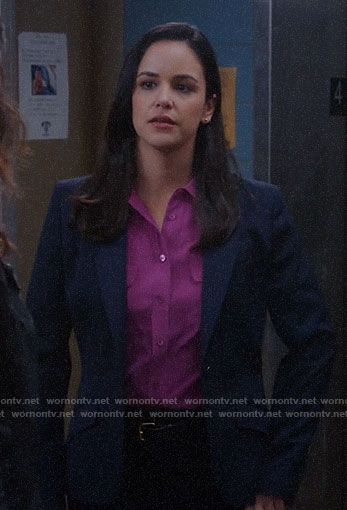 Amy's magenta button down blouse on Brooklyn Nine-Nine