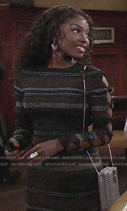 Ana's metallic striped dress on The Young and the Restless