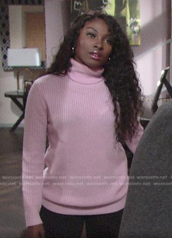 Ana's pink turtleneck sweater on The Young and the Restless