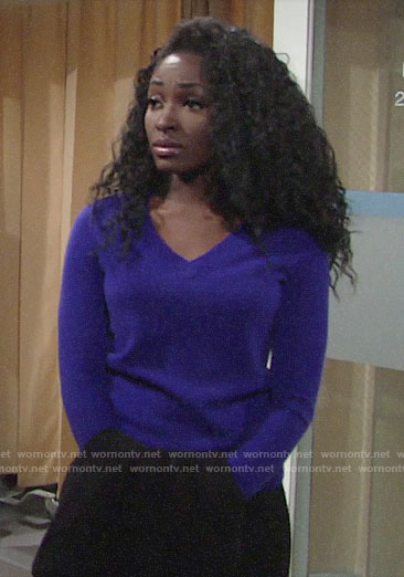 Ana's purple v-neck sweater on The Young and the Restless