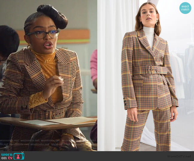 Belted Plaid Blazer by & Other Stories worn by Zoey Johnson (Yara Shahidi) on Grown-ish