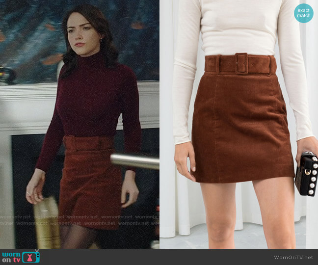 & Other Stories Belted Corduroy Skirt worn by Cara Bloom (Violett Beane) on God Friended Me
