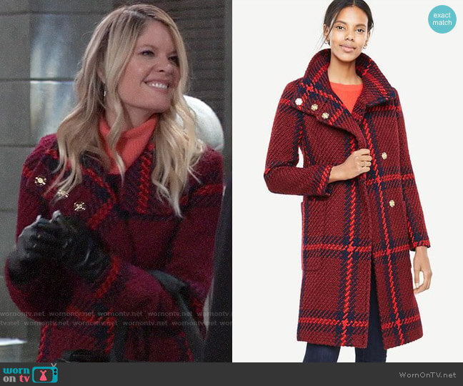 Ann Taylor Plaid Funnel Neck Coat worn by Nina Reeves (Michelle Stafford) on General Hospital