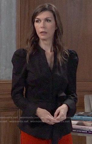 Anna's black tie-waist button down shirt on General Hospital