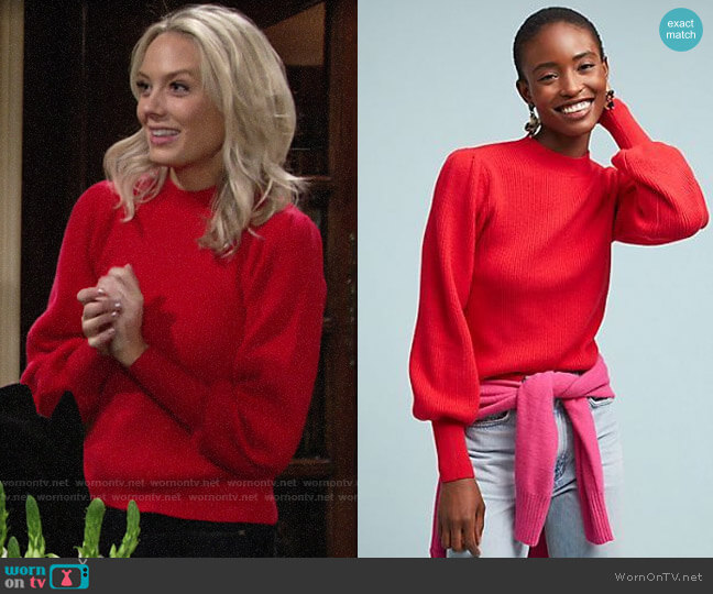 Anthropologie Sheridan Ribbed Sweater worn by Abby Newman (Melissa Ordway) on The Young & the Restless