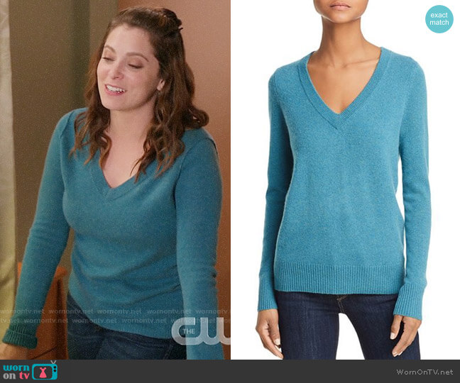 Aqua V-Neck Cashmere Sweater worn by Rebecca Bunch (Rachel Bloom) on Crazy Ex-Girlfriend