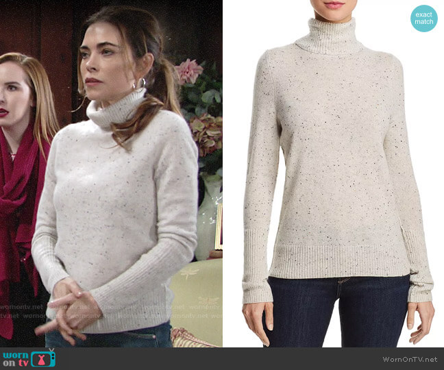 Aqua Cashmere Turtleneck Sweater in Ash Nep worn by Victoria Newman (Amelia Heinle) on The Young & the Restless