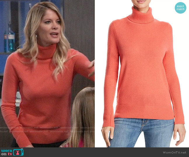 Aqua Cashmere Turtleneck Sweater worn by Nina Reeves (Michelle Stafford) on General Hospital