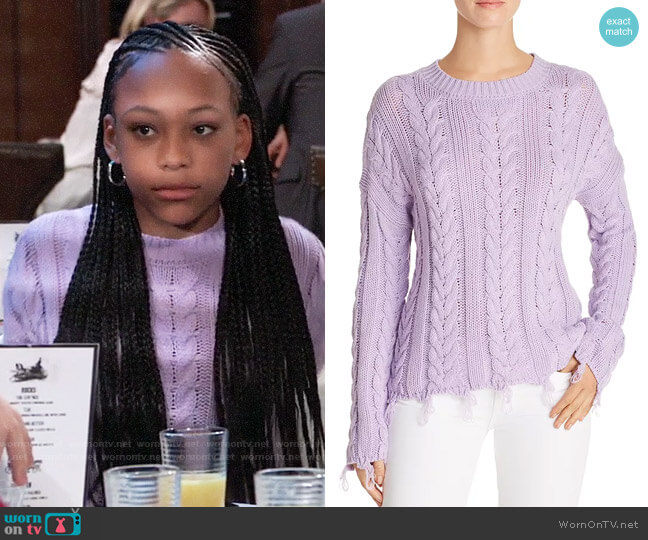 Aqua Distressed Cable-Knit Sweater worn by Trina (Sydney Mikayla) on General Hospital