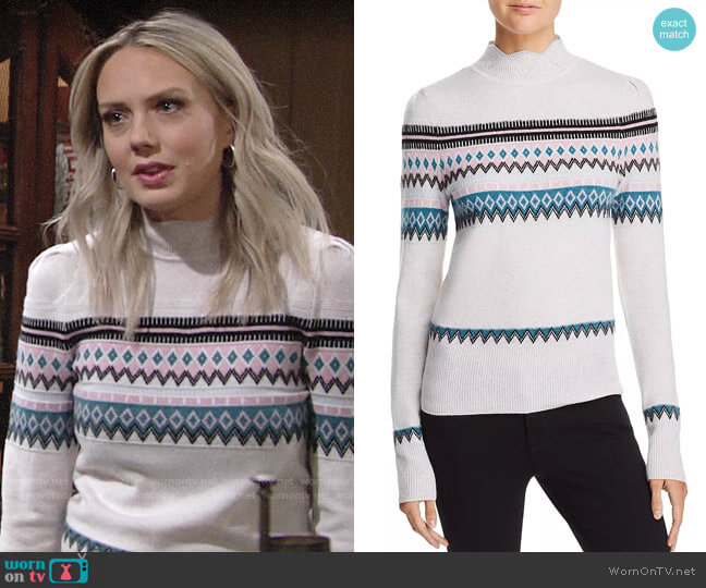 Aqua Scalloped Fair Isle Cashmere Sweater worn by Abby Newman (Melissa Ordway) on The Young & the Restless