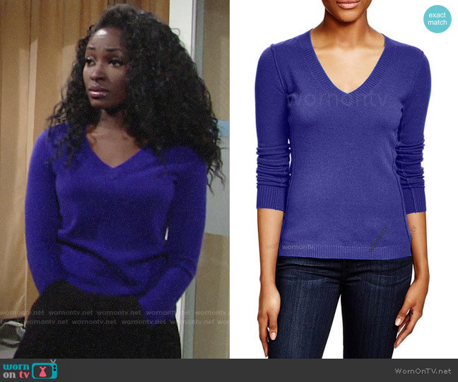 Aqua V-neck Cashmere Sweater worn by Ana Hamilton (Loren Lott) on The Young & the Restless