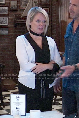 Ava's black and white fringed tie-neck blouse on General Hospital