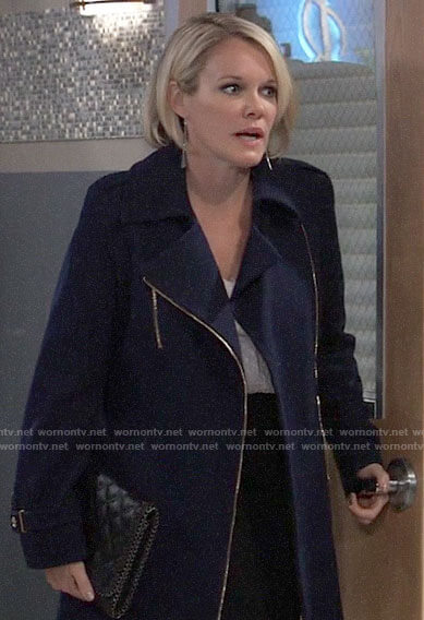 Ava's navy blue zip coat on General Hospital