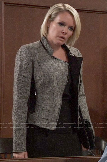 Ava's tweed leather-trim jacket on General Hospital