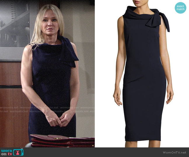 Badgley Mischka Sleeveless Tie-Neck Dress worn by Sharon Collins (Sharon Case) on The Young & the Restless