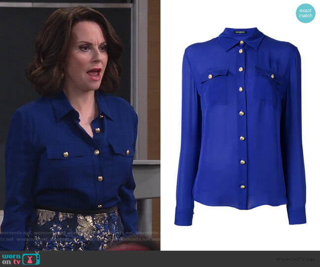 long sleeve shirt by Balmain worn by Karen Walker (Megan Mullally) on Will & Grace