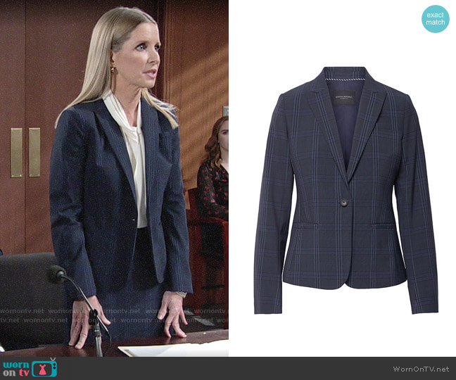 Banana Republic Classic-Fit Washable Italian Wool-Blend Blazer worn by Christine Blair Williams (Lauralee Bell) on The Young & the Restless