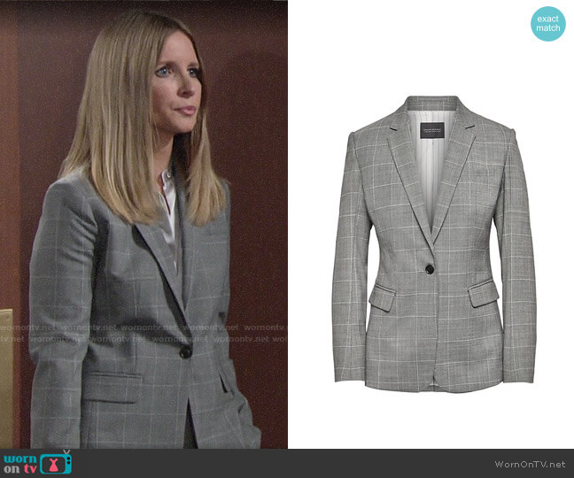 Banana Republic Long and Lean-Fit Washable Wool Blend Blazer worn by Christine Blair Williams (Lauralee Bell) on The Young & the Restless