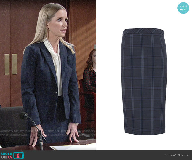 Banana Republic Washable Italian Wool-Blend Pencil Skirt with Side Slit worn by Christine Blair Williams (Lauralee Bell) on The Young & the Restless