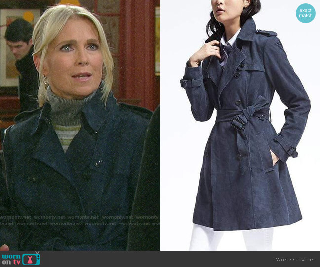 Banana Republic Classic Suede Trench worn by Jennifer Horton (Melissa Reeves) on Days of our Lives