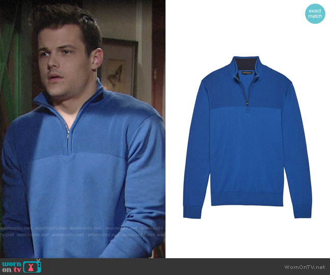 Banana Republic Cotton Cashmere Half-Zip Sweater worn by Kyle Abbott (Michael Mealor) on The Young & the Restless
