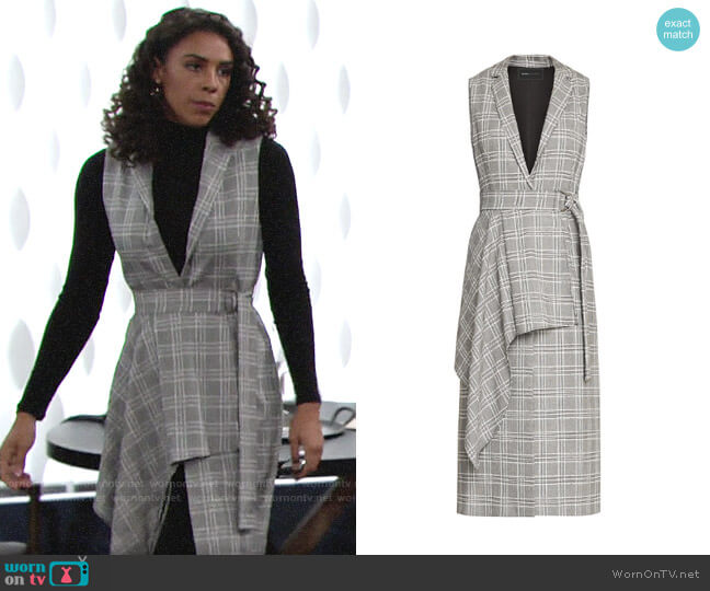 Bcbgmaxazria Drape Front Houndstooth Long Vest worn by Kerry Johnson (Alice Hunter) on The Young & the Restless