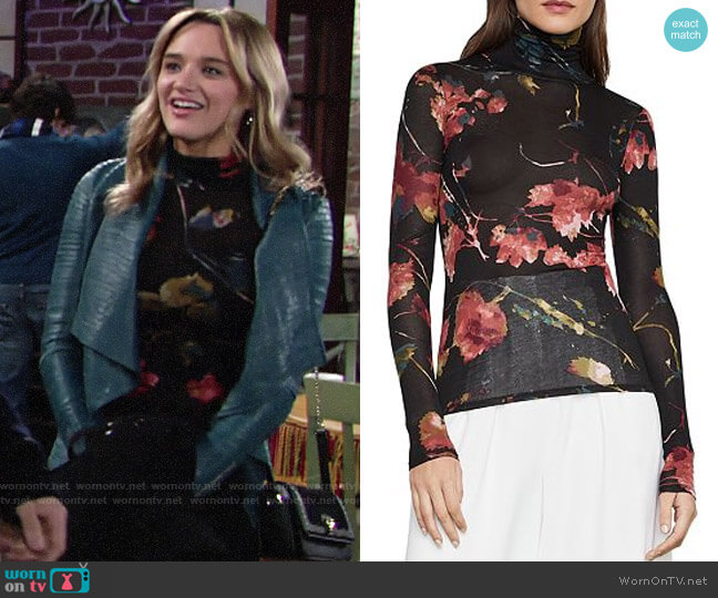 Bcbgmaxazria Floral-Print Turtleneck Top worn by Summer Newman (Hunter King) on The Young & the Restless