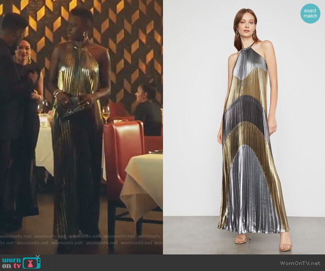 Metallic Colorblocked Pleated Gown by Bcbgmaxazria worn by Mina Okafor (Shaunette Renee Wilson) on The Resident