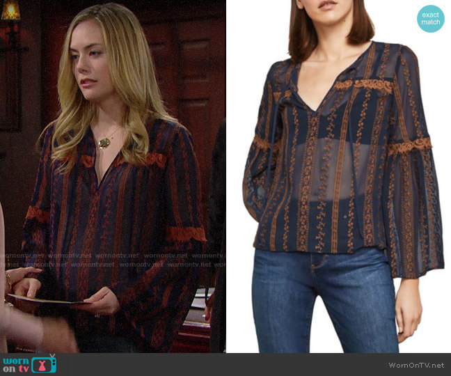Bcbgmaxazria Canyon Floral Embroidered Top worn by Hope Logan (Annika Noelle) on The Bold & the Beautiful