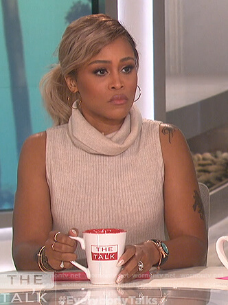 Eve's beige turtleneck sweater dress on The Talk