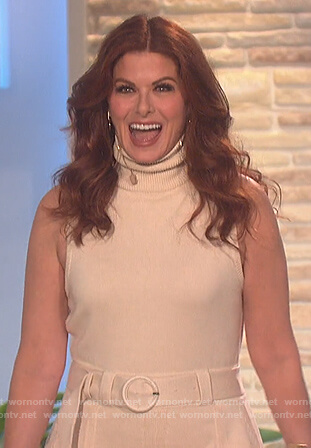 Debra Messing's beige turtleneck sleeveless dress on The Talk