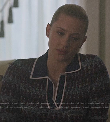 Betty's blue patterned polo sweater on Riverdale