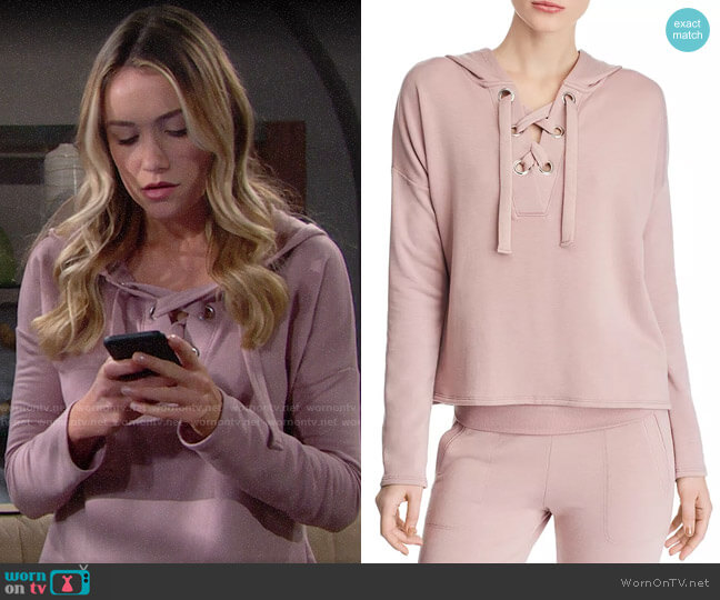 Beyond Yoga Over Tied Lace-Up Fleece Hooded Sweatshirt worn by Florence (Katrina Bowden) on The Bold & the Beautiful