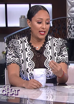 Tamera's black and white lace dress on The Real