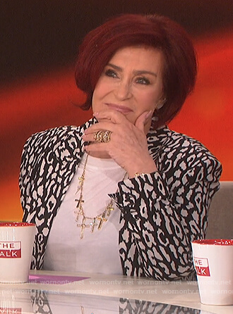 Sharon's black and white leopard print blazer on The Talk