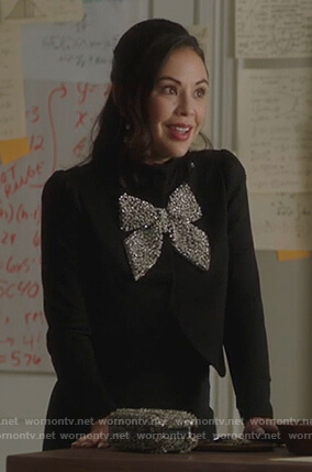 Mona's black jacket with embellished bow on PLL The Perfectionists