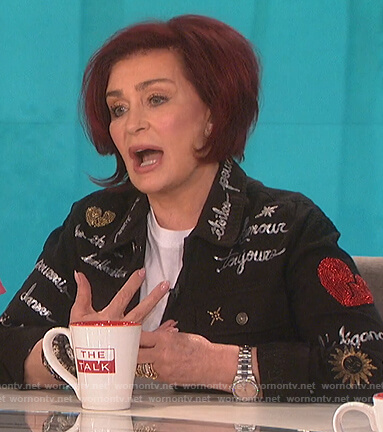 Sharon's black embellished cargo jacket on The Talk