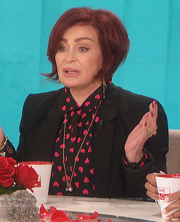 Sharon's black heart print blouse on The Talk