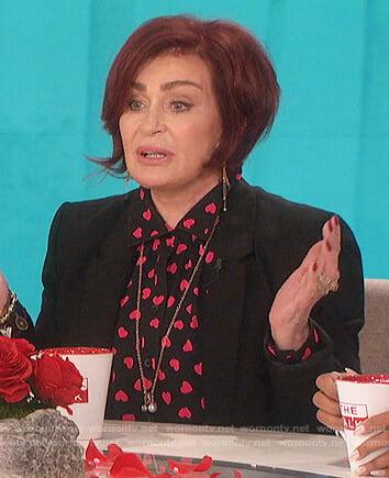 Sharon's black heart print blouse on The Talk