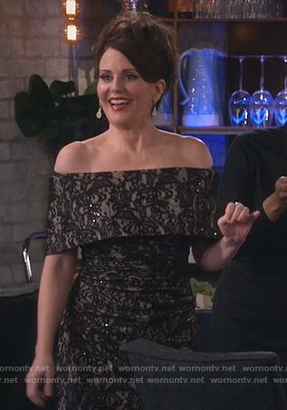 Karen's black off shoulder lace sheath dress on Will and Grace