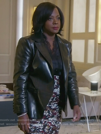Annalise's printed skirt and lace trim blouse on How to Get Away with Murder
