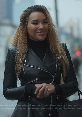 Allison's black leather peplum jacket on The Umbrella Academy