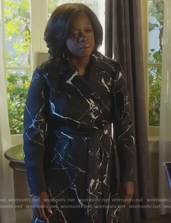 Annalise's black marble print coat on How to Get Away with Murder